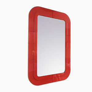 Vintage Italian Red Plastic Mirror, by Anna Castelli Ferrieri for Kartell, 1960s