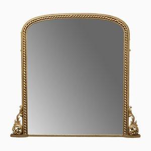 Großer antiker viktorianischer Spiegel mit vergoldetem Holzrahmen