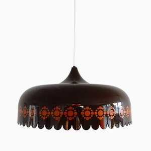 Enameled Brown Pendant by Kaj Franck for Fog & Mørup, 1970s