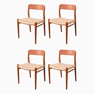 Model 75 Chairs by Niels O. Møller, 1950s, Set of 4