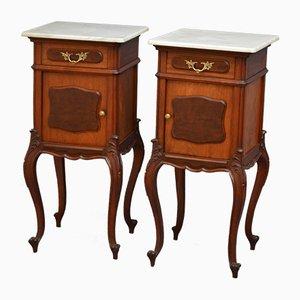 Tables de Chevet Antiques en Acajou et Marbre, Set de 2