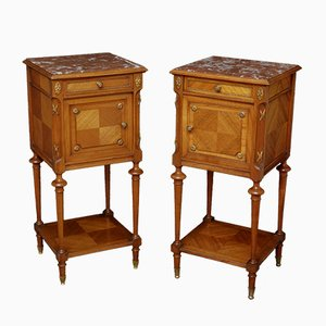 Antique Continental Mahogany, Walnut, and Marble Nighstands, Set of 2