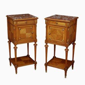 Tables de Chevet Antiques en Acajou, Noyer et Marbre, Set de 2