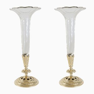 Vases Soliflores Antiques en Cristal et Bronze Doré, Set de 2