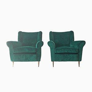 Italian Green Velvet Lounge Chairs from ISA Bergamo, 1950s, Set of 2