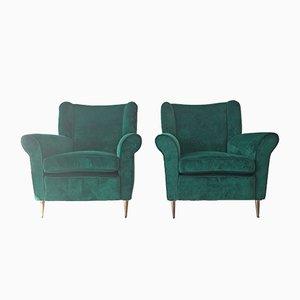 Italian Green Velvet Lounge Chairs from ISA Bergamo, 1950s, Set of 2