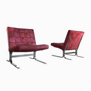 Vintage Italian Red Cowhide Easy Chairs, 1960s, Set of 2