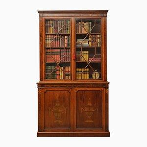 Antikes edwardianisches Bücherregal aus Mahagoni mit Intarsien