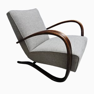 Vintage H - 269 Grey Bentwood Armchair by Jindřich Halabala for Thonet, 1920s