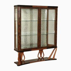 Mueble italiano vintage de vidrio y palisandro, años 40