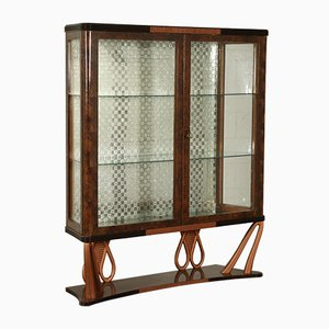 Vintage Italian Rosewood & Glass Cabinet, 1940s