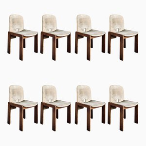 Chaises de Salle à Manger Modèle 121 en Velours, Noyer et Contreplaqué par Tobia & Afra Scarpa pour Cassina, 1960s, Set de 8
