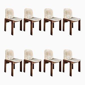 Modell 121 Esszimmerstühle mit Samtbezug & Gestell aus Nussholz- & Schichtholz von Tobia & Afra Scarpa für Cassina, 1960er, 8er Set