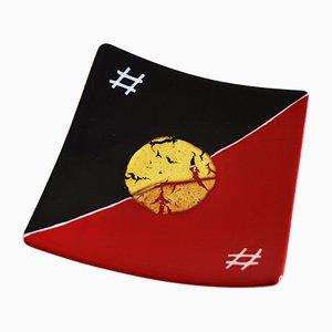 Plat Sol Levante Q20 en Verre de Murano Rouge et Noir par Birello pour Vévé Glass