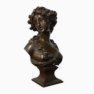 Antike Nymphenbüste aus Bronze von Joseph Charles Marin