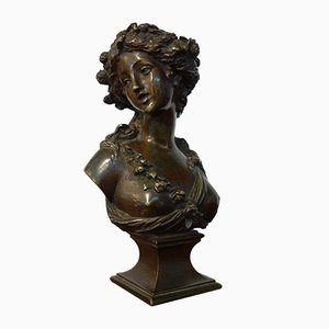 Antique Bronze Nymph Bust by Joseph Charles Marin
