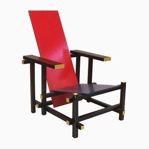 Armlehnstuhl in Blau & Rot von Gerrit Thomas Rietweld für Cassina, 1970er