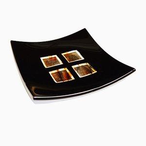 Assiette Dodezona R20 en Verre de Murano Noir et Aventurine par Stefano Birello pour VéVé Glass