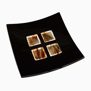 Assiette Dodezona R25 en Verre de Murano Noir et Aventurine par Stefano Birello pour VéVé Glass