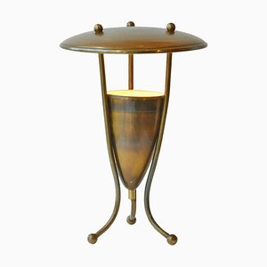 Mid-Century French Brass Table Lamp on Tripod Legs, 1950s