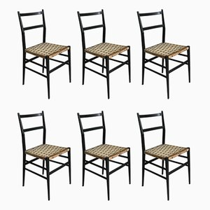 Model 649 Leggera Ash and Rope Dining Chairs by Gio Ponti for Cassina, 1950s, Set of 6