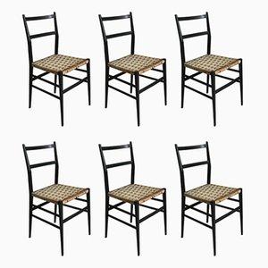 Modell 649 Leggera Esszimmerstühle mit Gestell aus Eschenholz & Seilgeflecht von Gio Ponti für Cassina, 1950er, 6er Set
