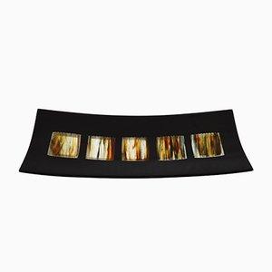 Assiette Dodezona R50 en Verre de Murano Noir et Aventurine par Stefano Birello pour VéVé Glass