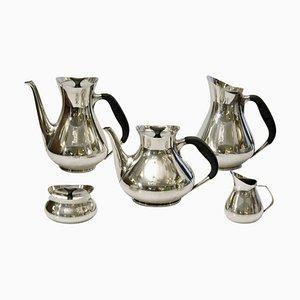 Modernes versilbertes dänisches Mid-Century Tee- & Kaffeeservice von Hans Bunde für Cohr, 1960er, 5er Set