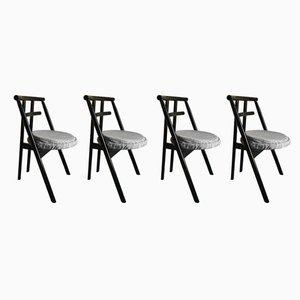 Postmodern Black Lacquered Dining Chairs from Cassina, 1980s, Set of 4