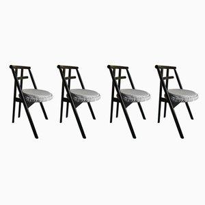 Sedie da pranzo postmoderne laccate nere di Cassina, anni '80, set di 4