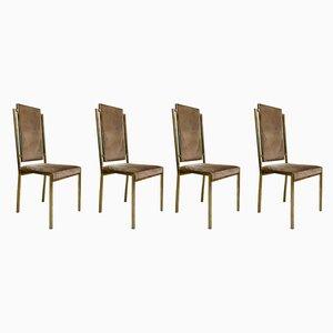 Italienische Esszimmerstühle mit Gestell aus Messing von Romeo Rega, 1970er, 4er Set