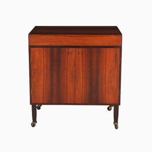 Rosewood Bar Cabinet on Wheels, 1950s