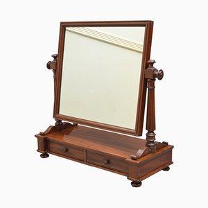 Tocador victoriano antiguo de caoba con espejo