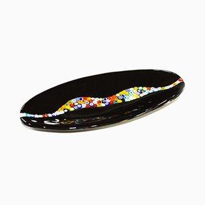 Assiette Ovale Cascata C20 en Verre de Murano Noir par Vévé Glass