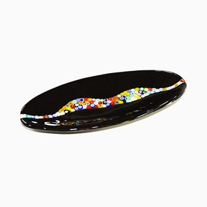 Oval Cascata C20 Black Murano Glass Plate by Vévé Glass