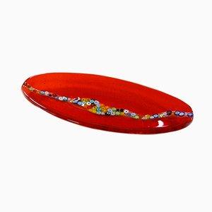 Plato ovalado Cascata C20 de cristal de Murano rojo de Vévé Glass