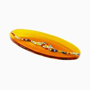 Assiette Ovale Cascata C20 en Verre de Murano Ambré par Vévé Glass
