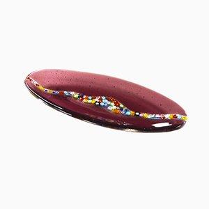 Ovale amethystfarbene Cascata C20 Schale aus Muranoglas von Vévé Glas