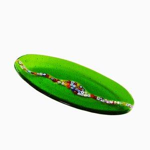 Assiette Ovale Cascata C20 en Verre de Murano Vert par Vévé Glass