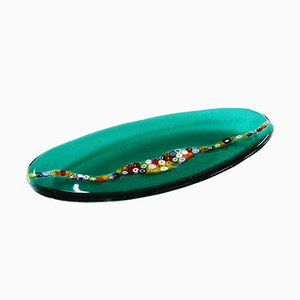 Oval Cascata C20 Emerald Murano Glass Plate by Vévé Glass
