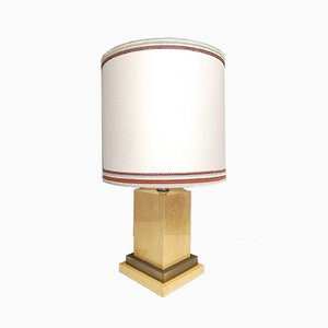 Vintage Parchment and Brass Table Lamp by Aldo Tura, 1960s