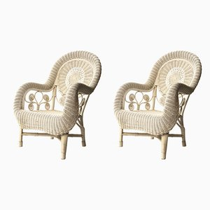 Mid-Century Modern White Natural Fiber Armchairs, 1960s, Set of 2