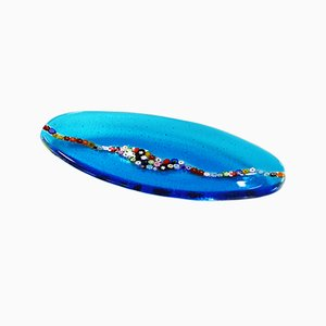 Plato de cristal de Murano Cascata C20 ovalado de color aguamarina de VéVé Glass