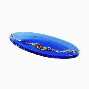 Plato ovalado Cascata C20 de cristal de Murano azul de Vévé Glass
