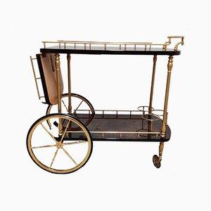 Chariot de Bar en Peau de Chèvre Laquée et Parchemin par Aldo Tura, Italie, 1960s