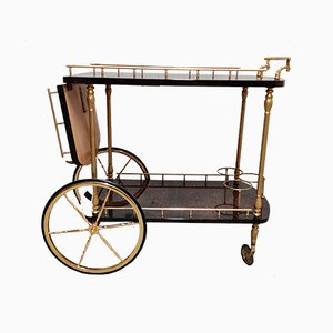 Italian Lacquered Goatskin & Parchment Serving Bar Cart by Aldo Tura, 1960s