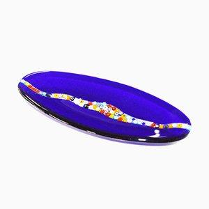 Assiette Ovale Cascata C20 en Verre de Murano Bleu par Vévé Glass