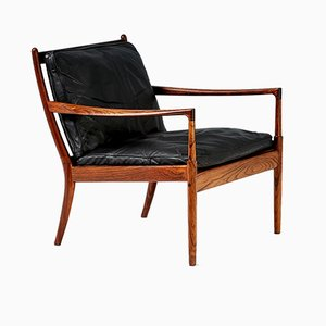 Rosewood and Black Leather Samso Chair by Ib Kofod-Larsen for Olof Perssons Fatoljindustri (OPE), 1950s