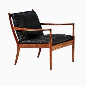 Sedia Samso in palissandro e pelle nera di Ib Kofod-Larsen per Olof Perssons Fatoljindustri (OPE), anni '50