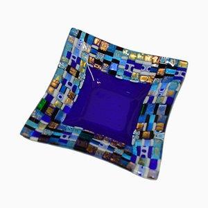 Assiette Dogal Q20 en Verre de Murano Bleu par Stefano Birello pour Vévé Glass